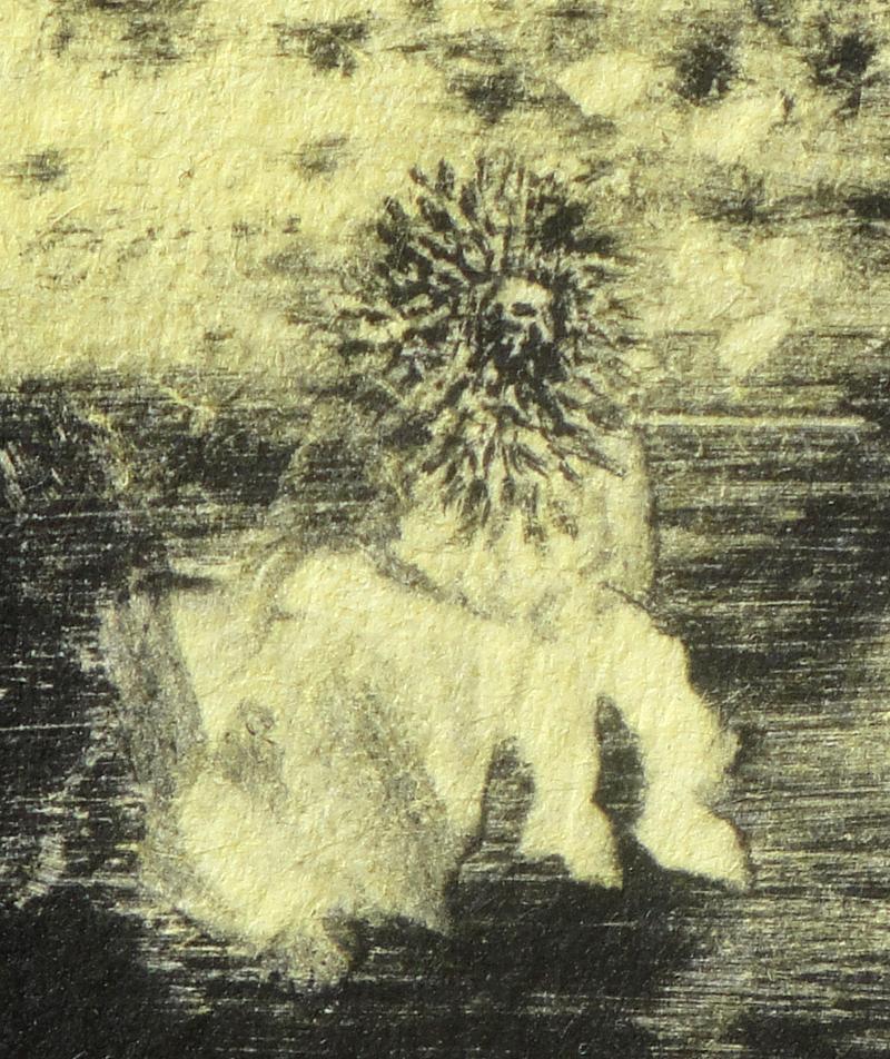 Homme coiffé assis seul sur un rocher